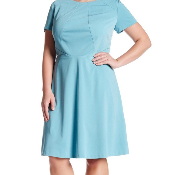 Tahari Robin Egg Blue Scuba Plus Size Dress NWT